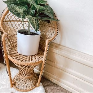 Small Vintage Rattan Peacock Rattan Plant Stand